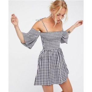 Free People Vetiver Bridgette Gingham Mini Dress